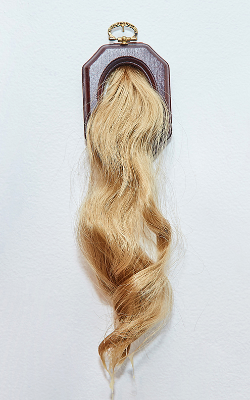 "Ponytail 2 , 2016 | Synthetic hair, beeswax, wooden frame | 9"" x 3"""
