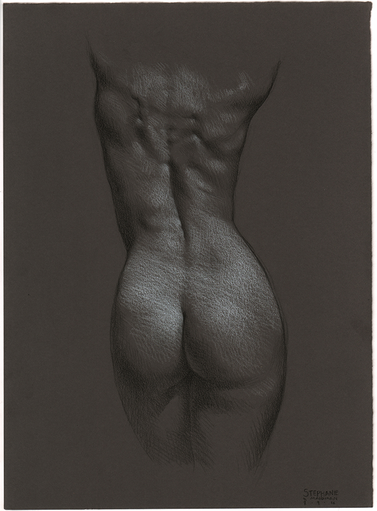 "Stephanie's Back , 3B pencil, white & black Prismacolor pencil on Daler Rowney gunmetal grey paper, 15""x11"", Private collection"