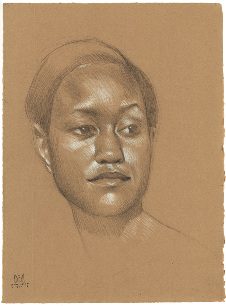 "Portrait of Dea , 2016, 3B pencil and white Prismacolor pencil on Rives BFK Tan Heavyweight Printmaking Paper, 15"" x 11"""