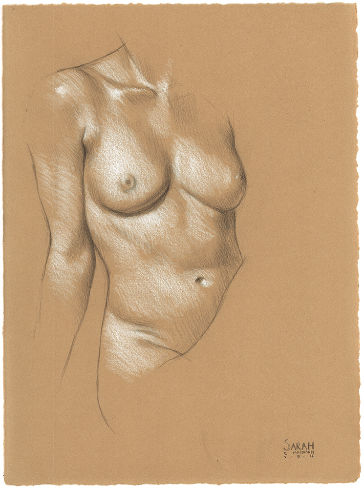 "Sarah Leaning on Her Right Arm , 2016, 3B pencil and white Prismacolor pencil on Rives BFK Tan Heavyweight Printmaking Paper, 15"" x 11"""