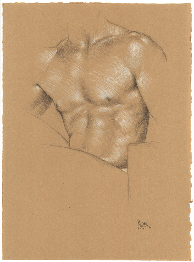 "Rob's Torso , 2016, 3B pencil and white Prismacolor pencil on Rives BFK Tan Heavyweight Printmaking Paper, 15"" x 11"""