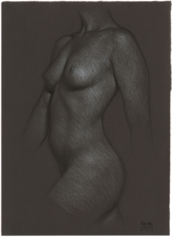 "Rachel Striding , 3B pencil, white & black Prismacolor pencil on Daler Rowney gunmetal grey paper, 15""x11"""