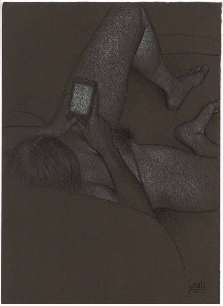 "Leah Checking Her iPhone  (preparatory sketch for a painting), 2016, 3B pencil and white and black Prismacolor pencil on Daler Rowney gunmetal grey paper, 15"" x 11"""
