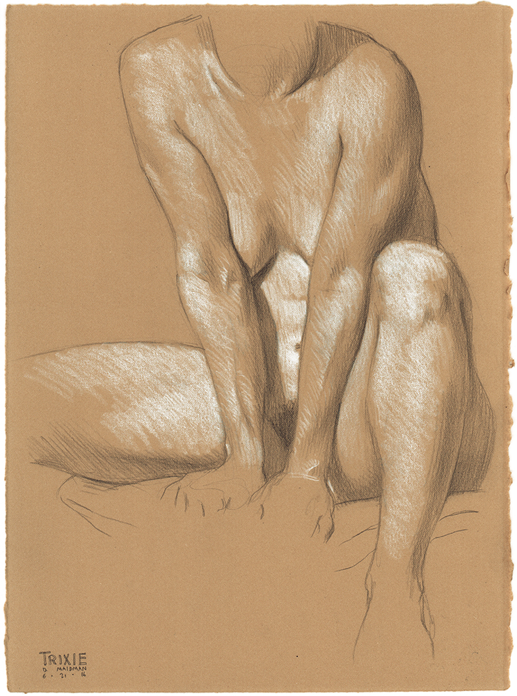 "Trixie Seated , 2016, 3B pencil and white Prismacolor pencil on Rives BFK Tan Heavyweight Printmaking Paper, 15"" x 11"""