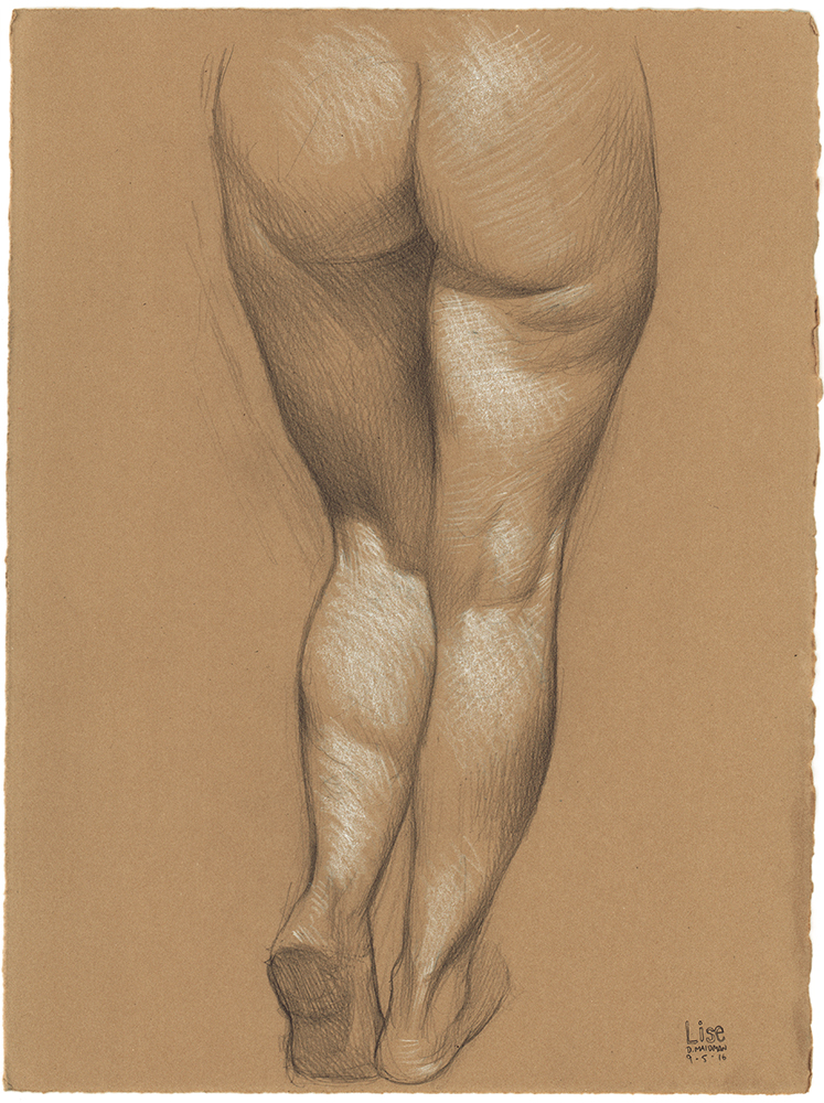 "Lise's Legs From Behind , 2016, 3B pencil and white Prismacolor pencil on Rives BFK Tan Heavyweight Printmaking Paper, 15"" x 11"""