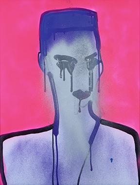 "Valincy-Jean Patelli, Silver Face Grace I, 2017, Spray paint & glitter on paper, 25"" x 19"""