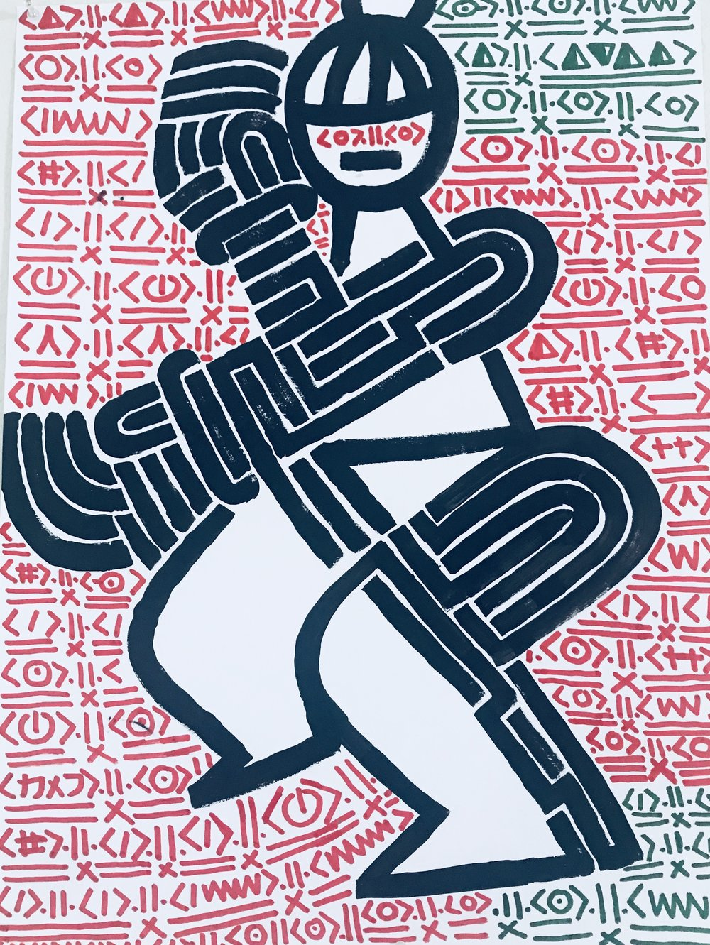 MOOSH,  Nyabingi II , 2018, Acrylic on paper, 24 x 18 in