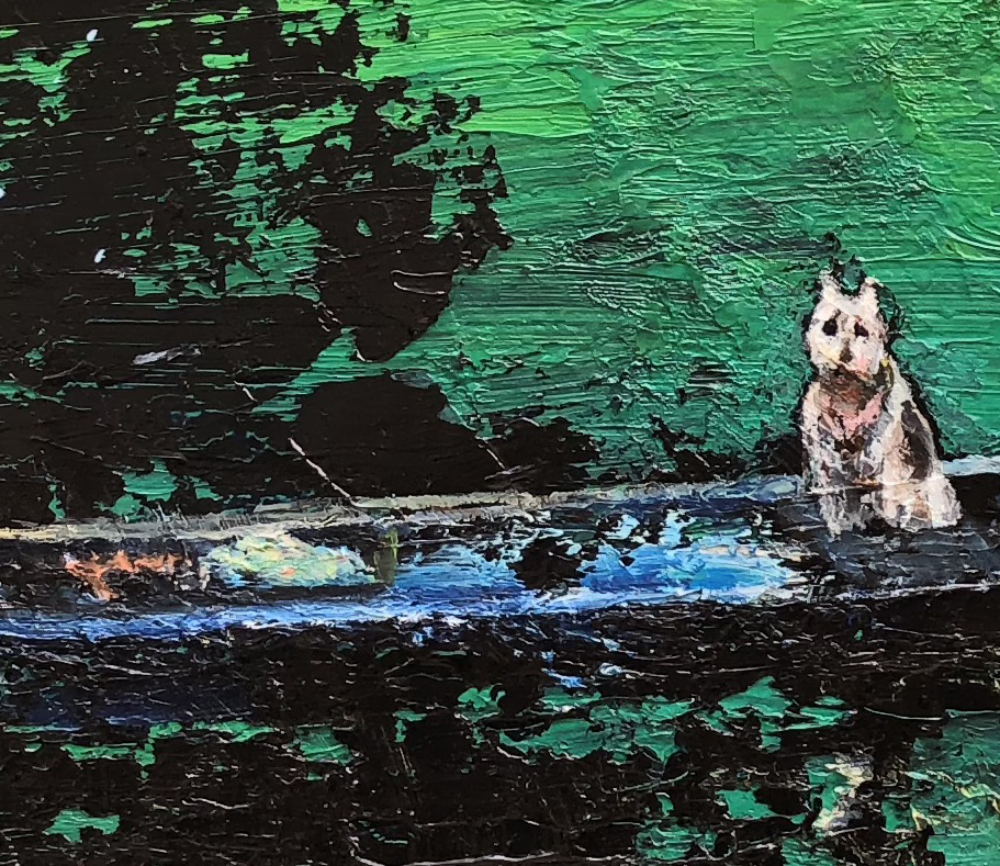 Michelle Rogers, Detail of  Woman and Dog , 2018, Oil on canvas, 31 × 39 in
