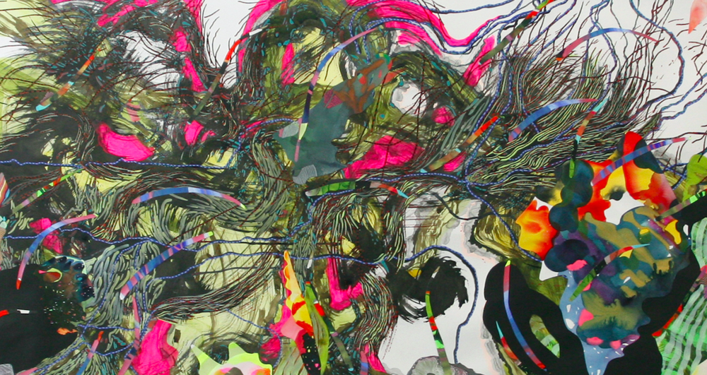 Anne Austin Pearce,   Detail of  Persephone - Spring,  2017, Ink, acrylic & collage on paper, 42 × 108 in