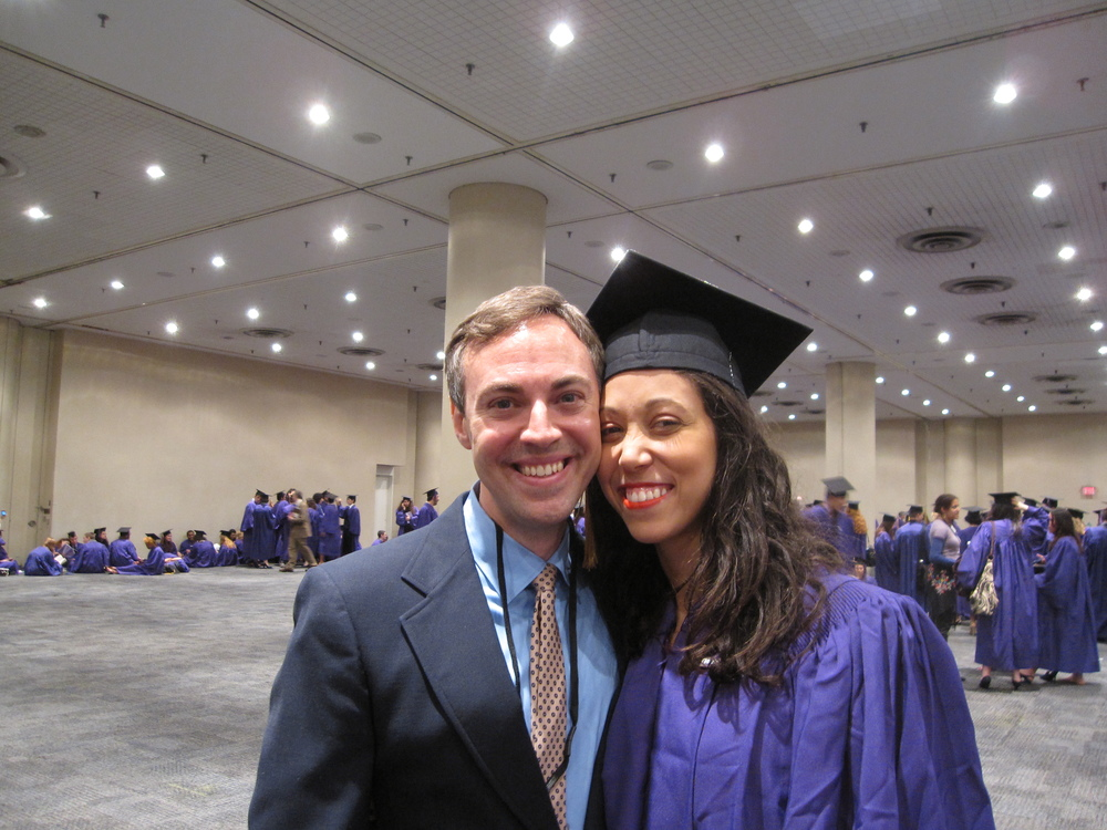 With a Drama Department graduate and former advisee at the 2011 NYU Tisch Salute at the Javitz Center [Chris Andersson]