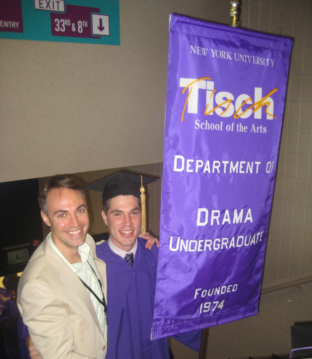 With the Drama Department Banner Bearer and former advisee at the 2010 NYU Tisch Salute at Radio City Music Hall [Chris Andersson]
