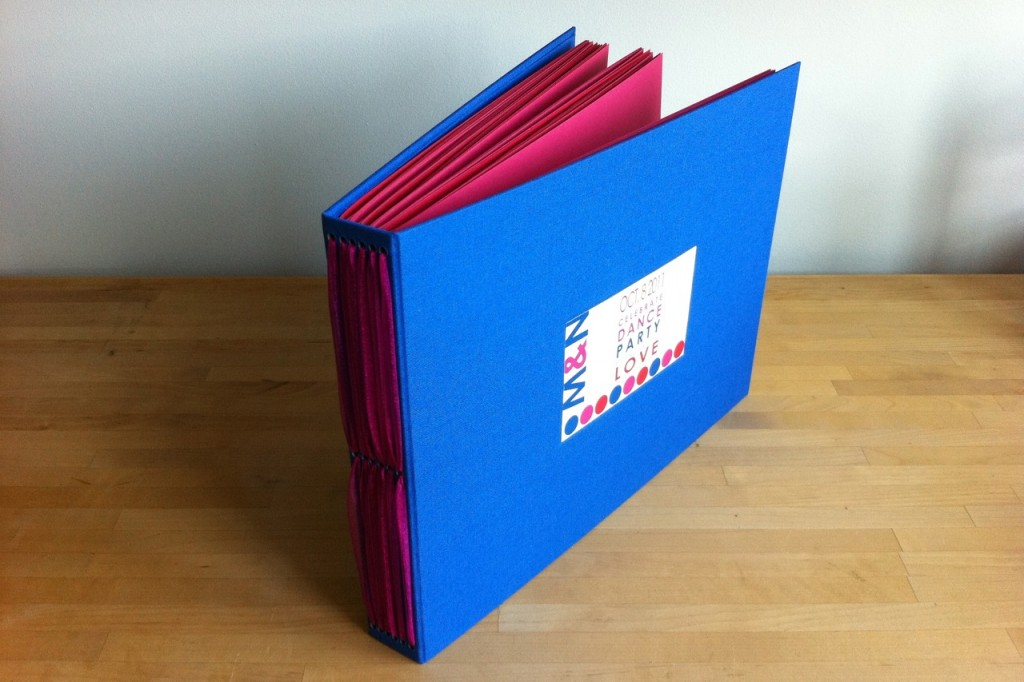 handmade guest book with pink pages
