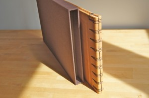 leather book stab binding