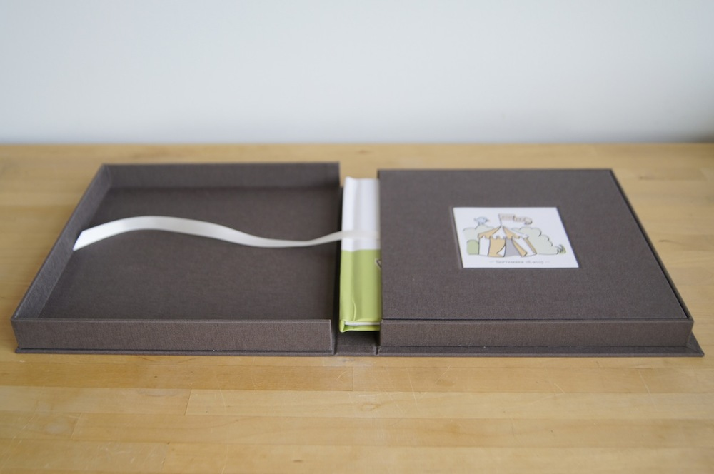 Clamshell Box with Ribbon Pull Slipcase