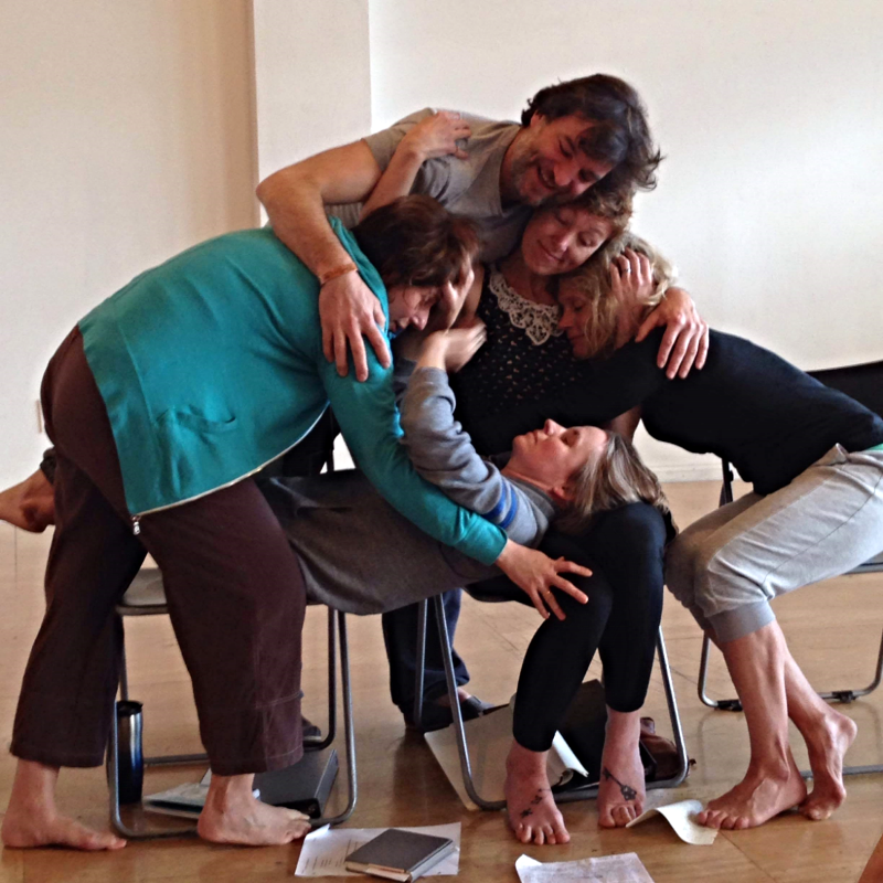 Rehearsal shot by Jess Drake. Pictured: Andrea stolowitz, Jean-luc boucherot, erin leddy, heather rose pearson & Jenni GreenMiller