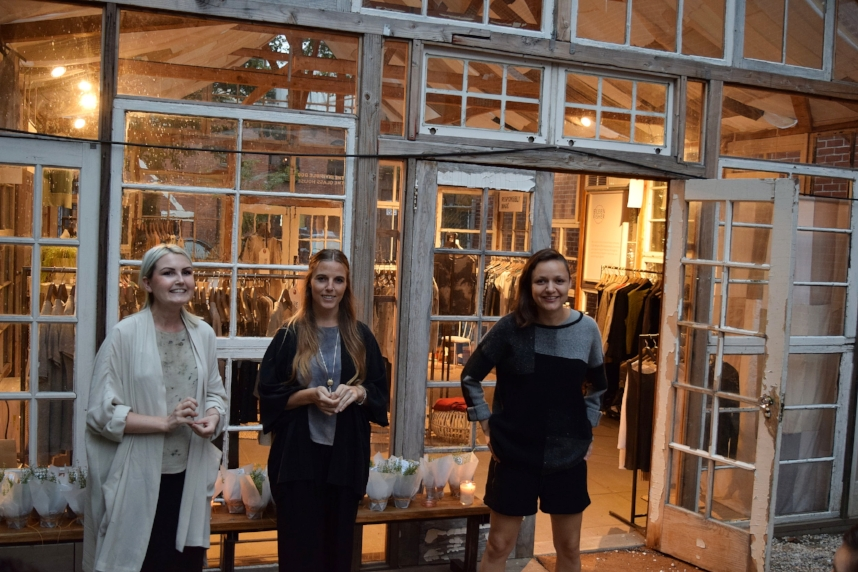 Lucy Jones, Teslin Doud and Carmen Gama, the CFDA fellows/designers of the Remade In The USA Collection, present their collection to guests.