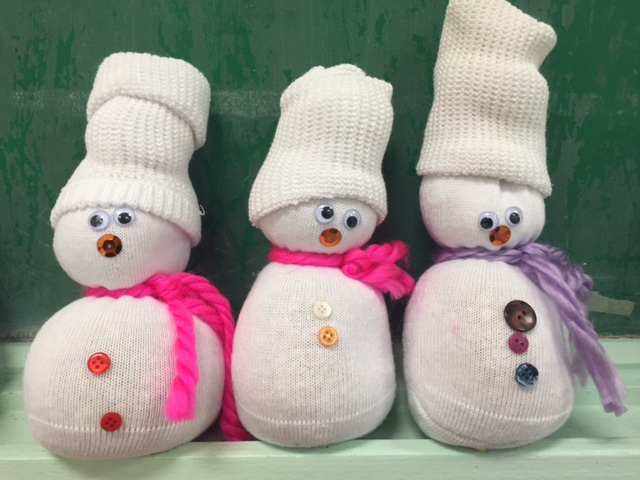 Cute sock snowmen made in the Spring 3s class