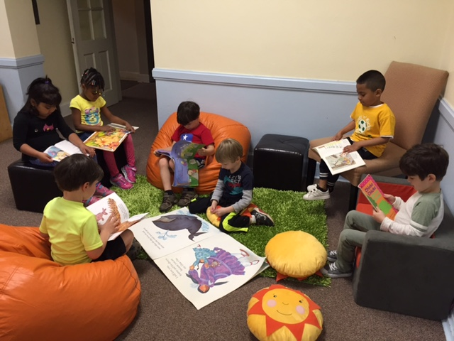 The Pre-K class enjoying the Reading Nook!
