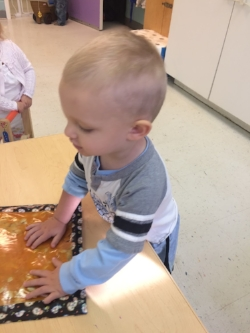 Anna Cross made some adorable sensory bags for the Sparkles class including one with pumpkin!