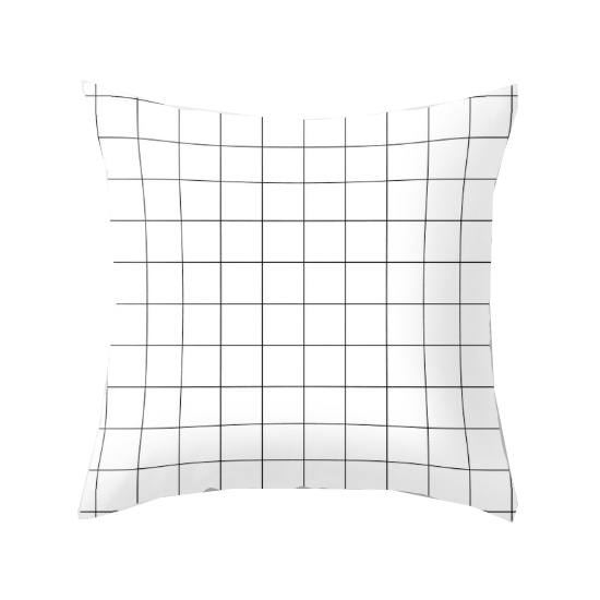 Black Lines On White Grid Pillow