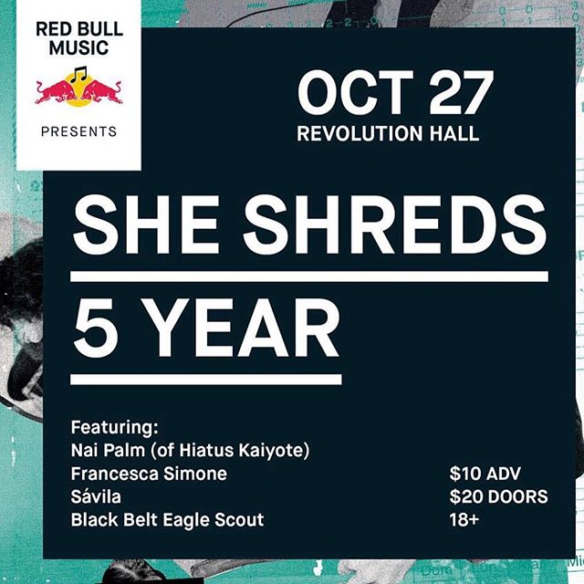 Via @artykarateparty  #Repost @artykarateparty with @get_repost ・・・ Hey all I'll be playing  @redbullmusic Presents: @sheshredsmag 5 Year anniversary on 10/27 at @revolutionhall in Portland. celebrating 5-years of She Shreds pushing boundaries for women guitarists  Tickets at redbullmusic.com  Artwork: @flanciscaac 💋🔥🎸🔥💋