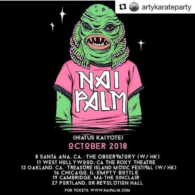 #Repost @artykarateparty with @get_repost ・・・ All remaining state side shows . W/HK are the full band shows all the rest are solo . Come through . Art by mega super babe @squid.licker 🌈 tix via naipalm.com
