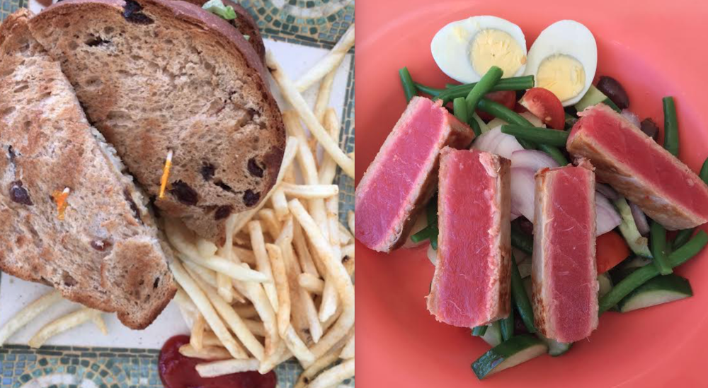 Fish sandwich on raison bread on the left (weird sounding combo, but it's actually pretty good!). Nicoise salad on the right with huge chunks of tuna! I'll let you guess which one I ordered.