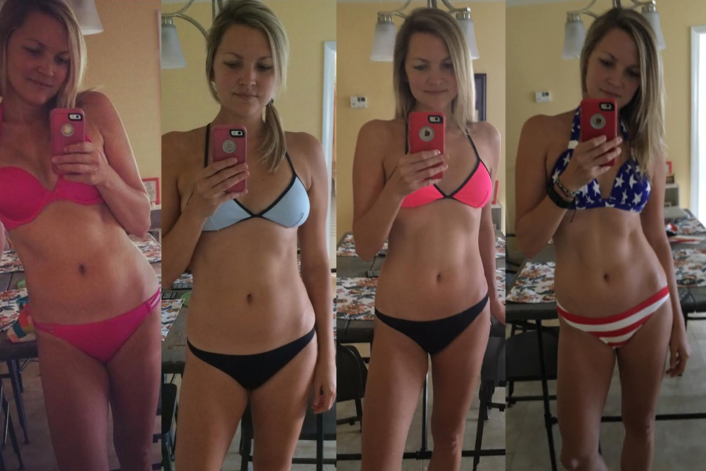 pink bikini - before photo; blue bikini - after two rounds of 21 day fix; pink/black bikini - several rounds of a mixture of 21 day fix and 21 day fix extreme; american flag bikini - what i work to maintain (still doing the mix of workouts plus any other random fun active thing i can)!