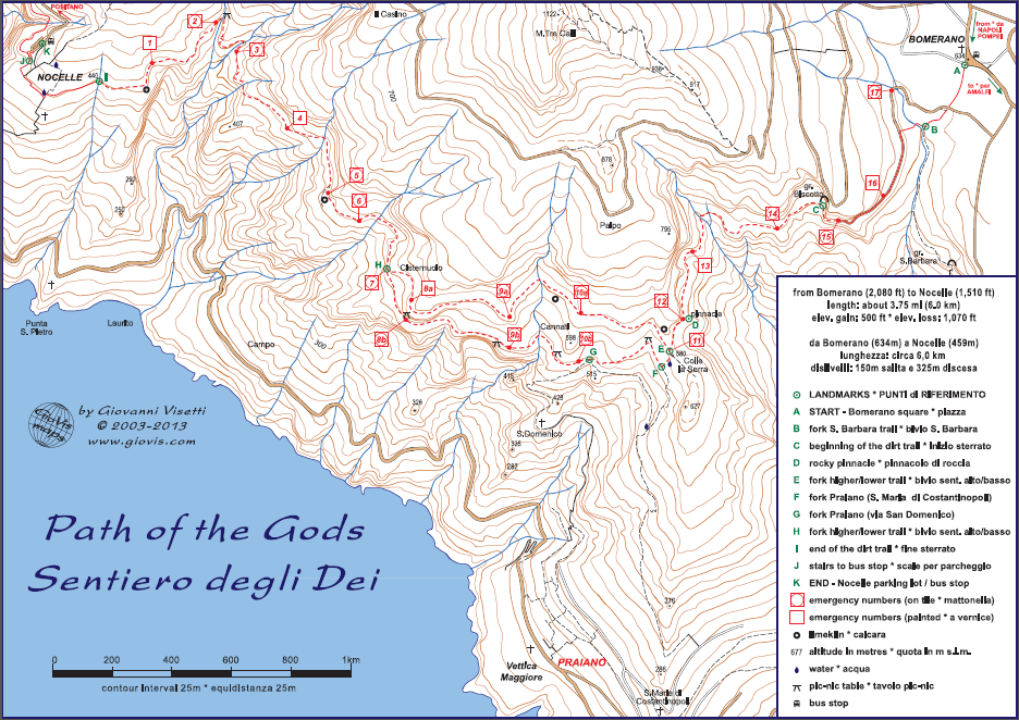 Map of the Path of Gods (Sentiero degli Dei)