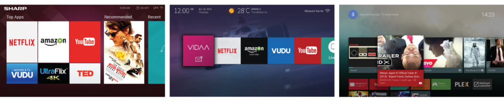 Left: Hisense-designed Sharp UI 2016, Hisense VIDAA U2 (expected H2 2016), Android TV