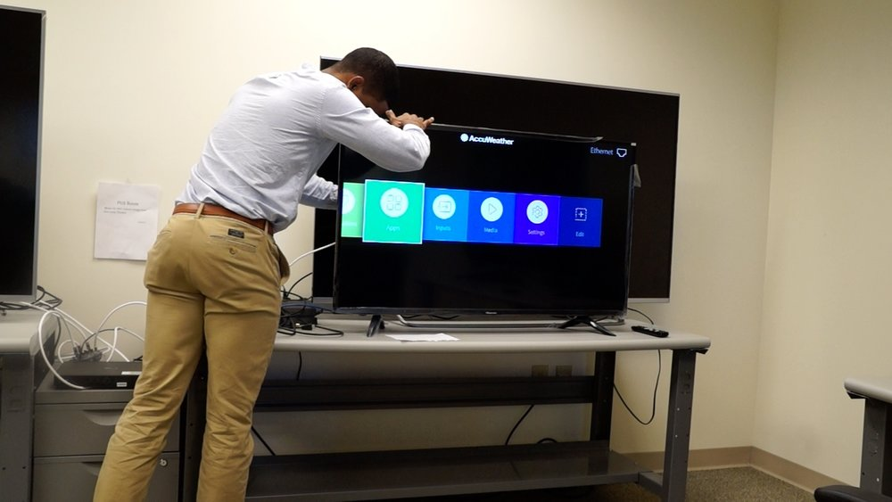 usability testing of TV setup, which includes interacting with physical products
