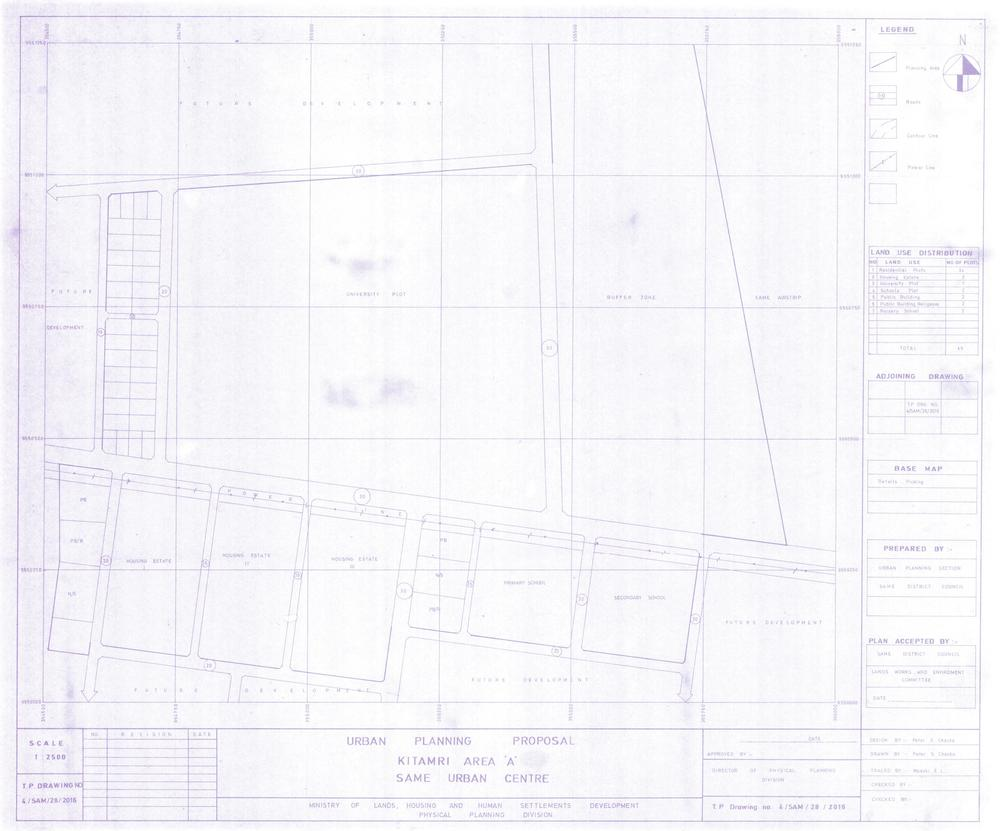 "The urban planning proposal drawing from the District Land Office of Same showing the future location of the Same Polytechnic College marked as ""UNIVERSITY PLOT""."