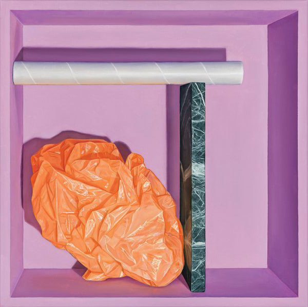 Image: Sean Meilak,  Purple and Orange Arrangement , oil on linen, 51 x 51 cm, image courtesy of the artist and Niagara Galleries, Melbourne.