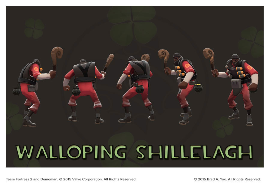 Walloping Shillelagh and Cauldron In-game renders with Demoman.