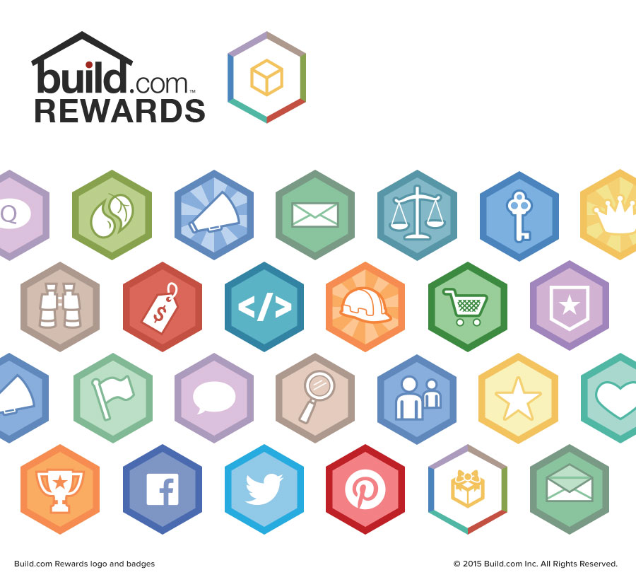 Build.com Rewards logo and badges