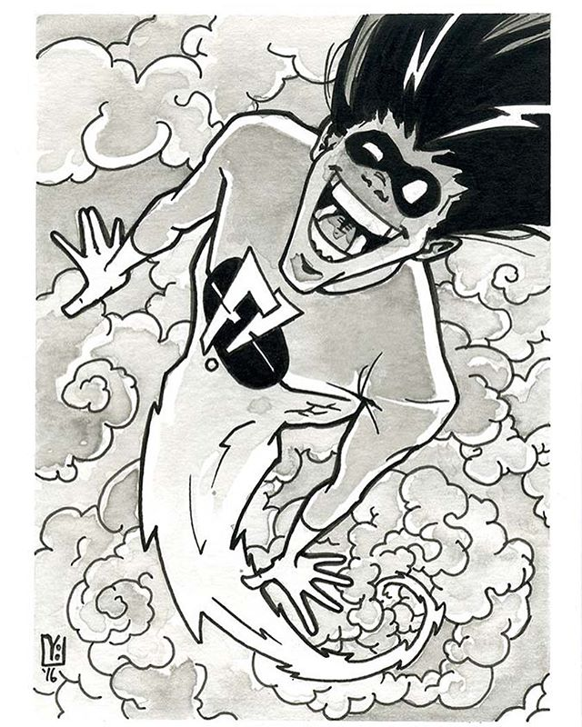 Day 08 - Freakazoid! Love Love LOVE this show throughout my childhood. Would have been cool to see it as a serious superhero show. Now that I'm catching up on #inktober some of these numbers will be off, posting that days #inktober2016 before working on catchup. #art #illustration #inking #freakazoid @bruce.timm #brucetimm #stevenspielberg #fanart @warnerbrostv