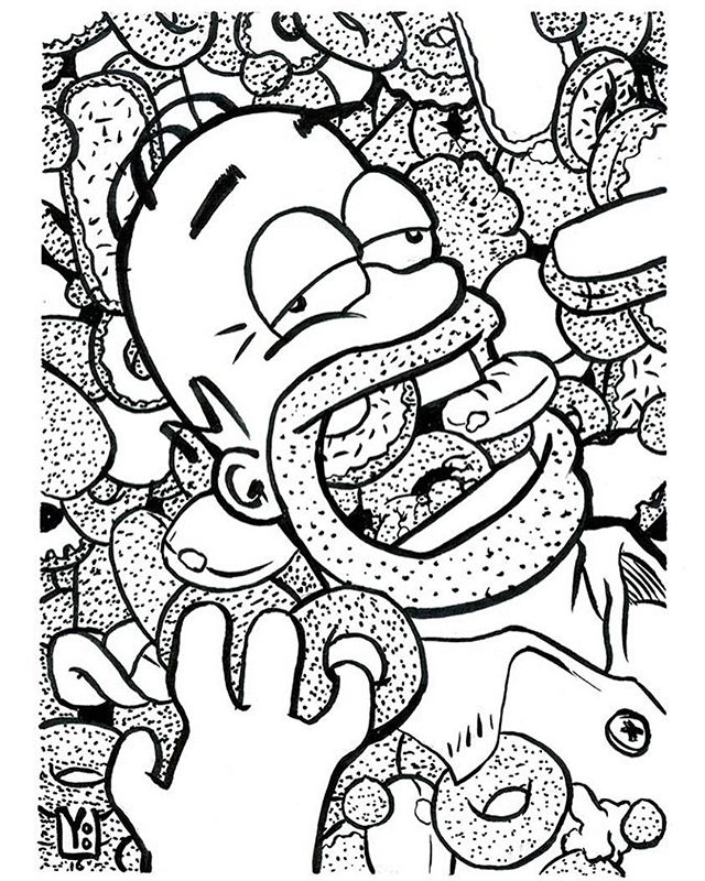 Day 10 #HomerSimpson ❤ his #doughnuts. New #Kuretake brushpen, I ❤ but isnt waterproof :( so no ink washes today. #inktober #inktober2016 #stipple #art #illustration #cartoons #foxanimation #MattGroening #inking @matt.groening #simpsons #thesimpsons