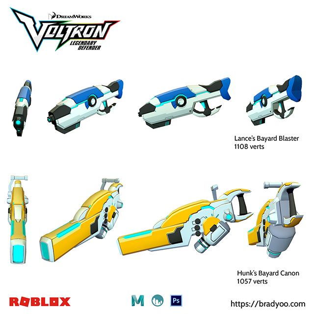 I need to share more of my work. Check out these #Voltron Barnard blasters I made for the new #Roblox event. #3dmodeling #3D #dreamworksanimation #netflix #Zbrush #Maya #Maya3D #Photoshop #WeaponDesign #3DWeapons