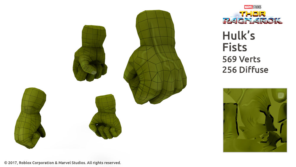 Hulk's Fists - Thor Ragnarok wireframe