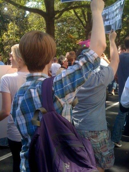 Me and my backpack at the National Equality March, 2009.