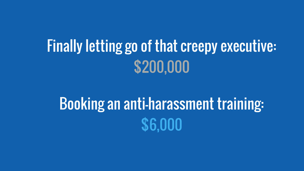 Image: White text on a royal blue background that reads: Finally letting go of that creepy executive: $200,000. Booking an anti-harassment training: $6,000. End image description.