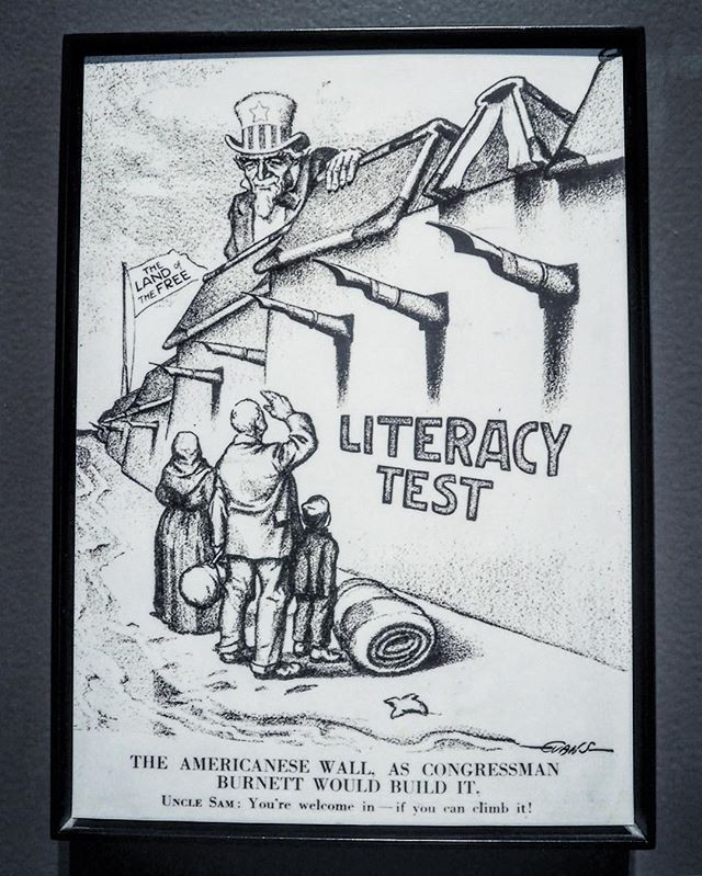 "Just reminiscing from our visit to Ellis Island earlier this summer..... ""This political cartoon appeared as the nation debated new restrictions on immigration. After 1917, immigrants entering the United States had to pass a literacy test. In the cartoon, the literacy test appears as an insurmountable barrier to a family of immigrants. Uncle Sam peers out over the barrier, a flag behind him ironically proclaiming ""the land of the free."" The law foreshadowed the 1924 National Origins Act, which ended the years of mass immigration."" . . . #ellisislandmuseum #latergram #ellisisland #immigration #history #historyrepeats #inspirationaldestinations #girlswhotravel #darlingescapes #travelgram #nyc #finditliveit  #l4l #thewanderingtourist #embraceyouradventure #LStraveler #politics #politicsasusual #policy"