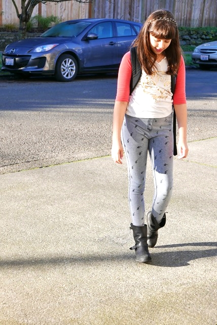 decd8f4a56 headband: Forever21/ t-shirt:Mudd/ leggings:Zara/ boots:Frye/  backpack:Jansport