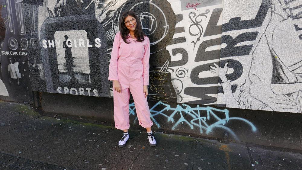 shoes: Lazy Oaf Vans/ pink Boiler suit: Urban Outfitters/ socks:Stance/ glasses: Warby Parker