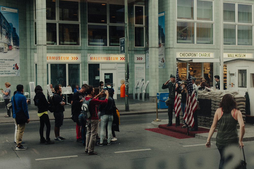 Tourists at Checkpoint Charlie.