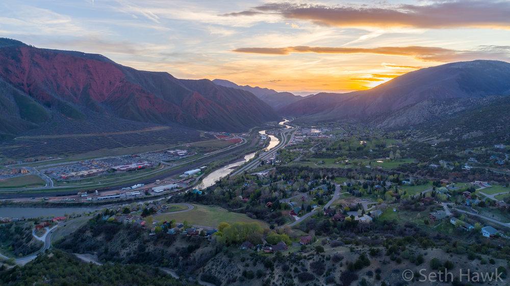 Glenwood Springs Aerial Sunset .jpg