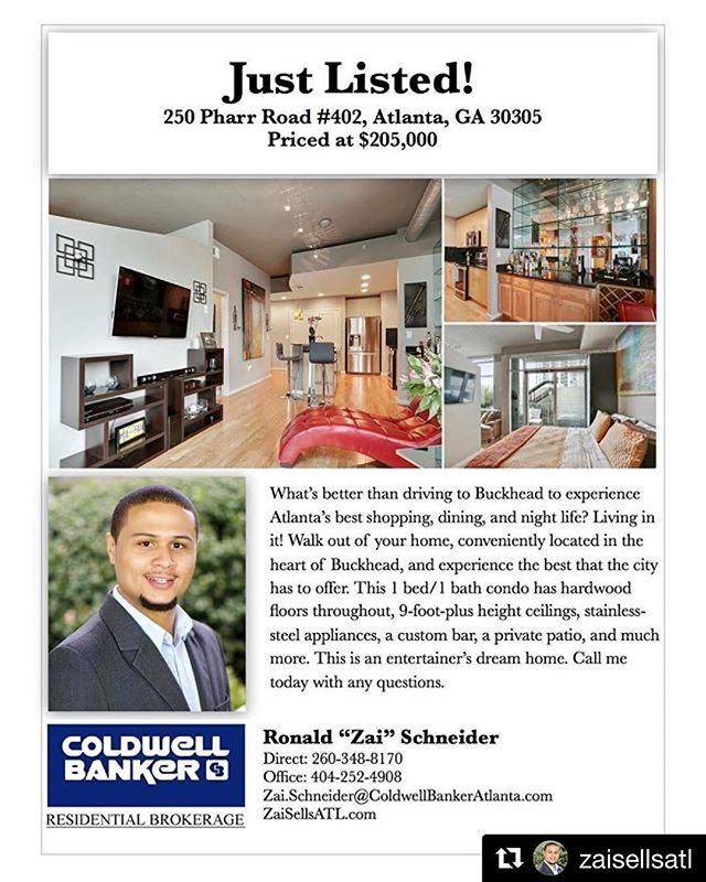 #Repost @zaisellsatl  Atlanta friends and family...who do you know that wants to live like this? Not only is this a great unit and a desirable location, this condominium offers great amenities such as 24/7 concierge, covered parking, a fitness center, luxury clubhouse, and a rooftop pool with amazing views. Call me today for more information. #ZaiSellsATL #NewListing #Realtor #realestate #realestateagent #georgia #atlanta #ATL #homesforsale #condo #buckhead #city #cityscape #citylife