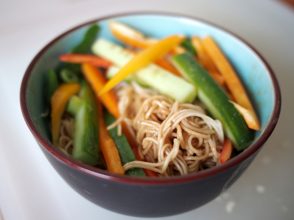 Somen with peanut/soy/sesame sauce with sweet peppers and cucumbers