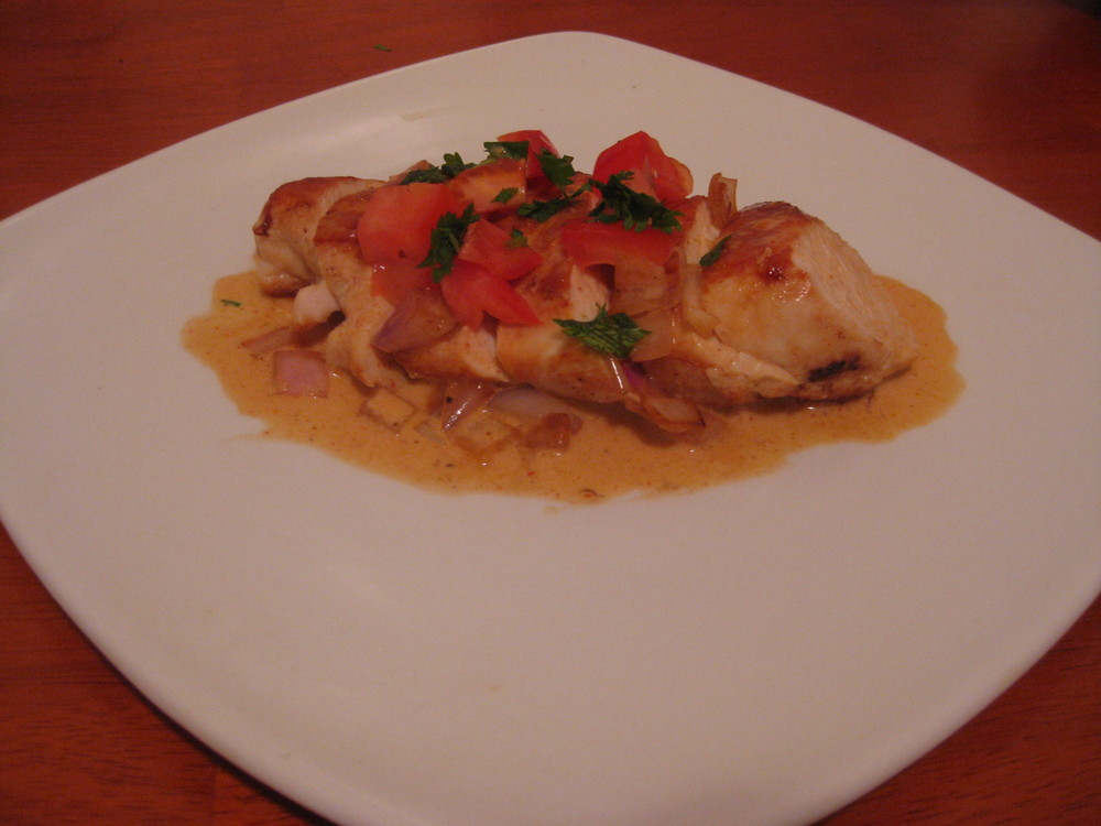...into this. Sauteed Chicken Breast with Sriracha Chili Lime sauce.