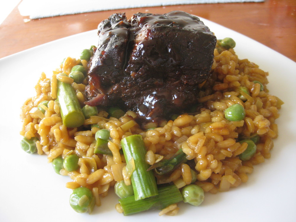 I then use your input to create dishes like this risotto with asparagus, spring garlic, and spring peas served with honey-miso braised short rib.